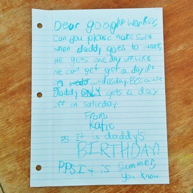 Letter to Google for father's time off