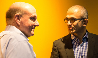 Microsoft CEOs Ballmer and Nadella