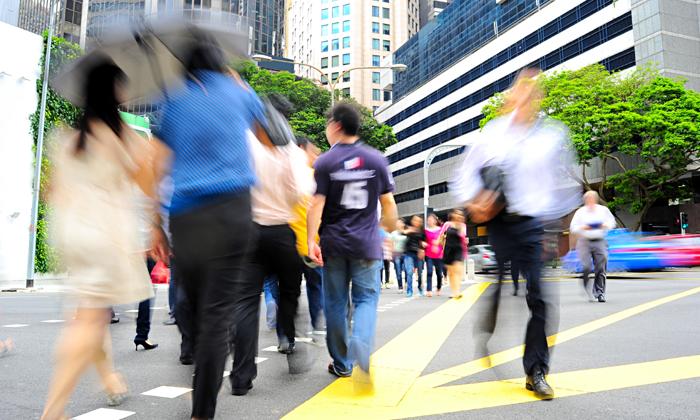 Office crowd at Singapore's CBD