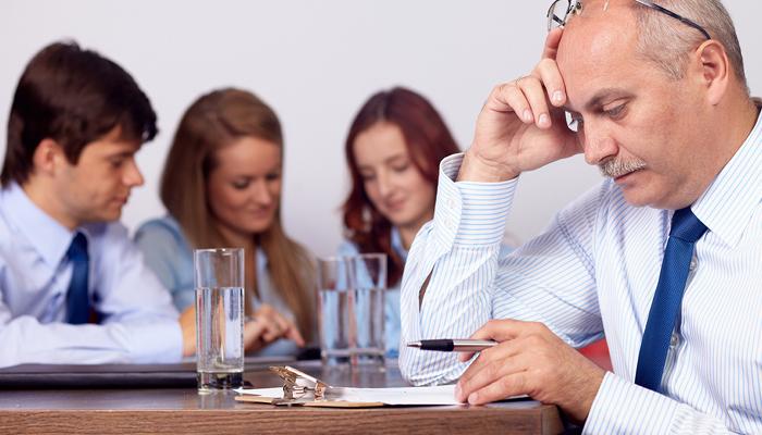 Older worker stressed at work