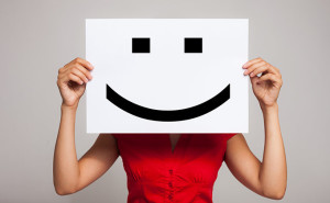 Employee with happy face