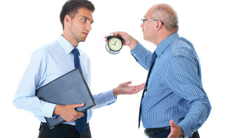 Boss yelling at employee for getting late