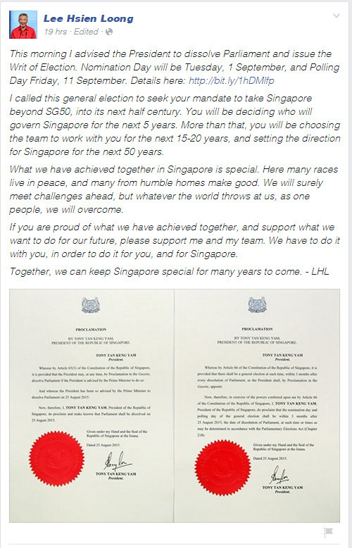 PM Lee's facebook post on polling day