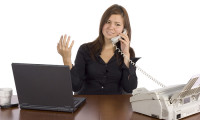 irritated business woman on call