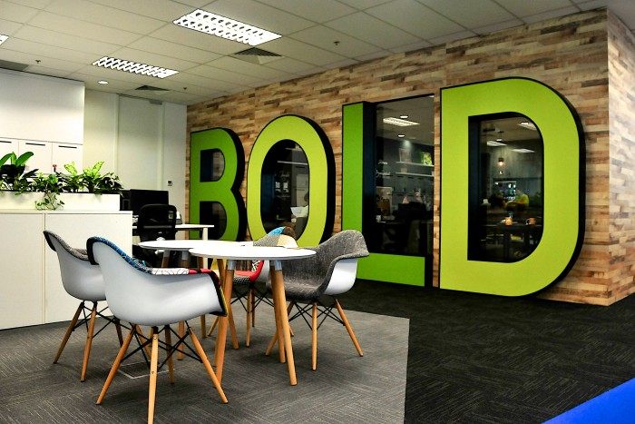 As U201cboldu201d Is One Of The Companyu0027s Values, It Is Used As A Central Focal  Point Of The Office Design.