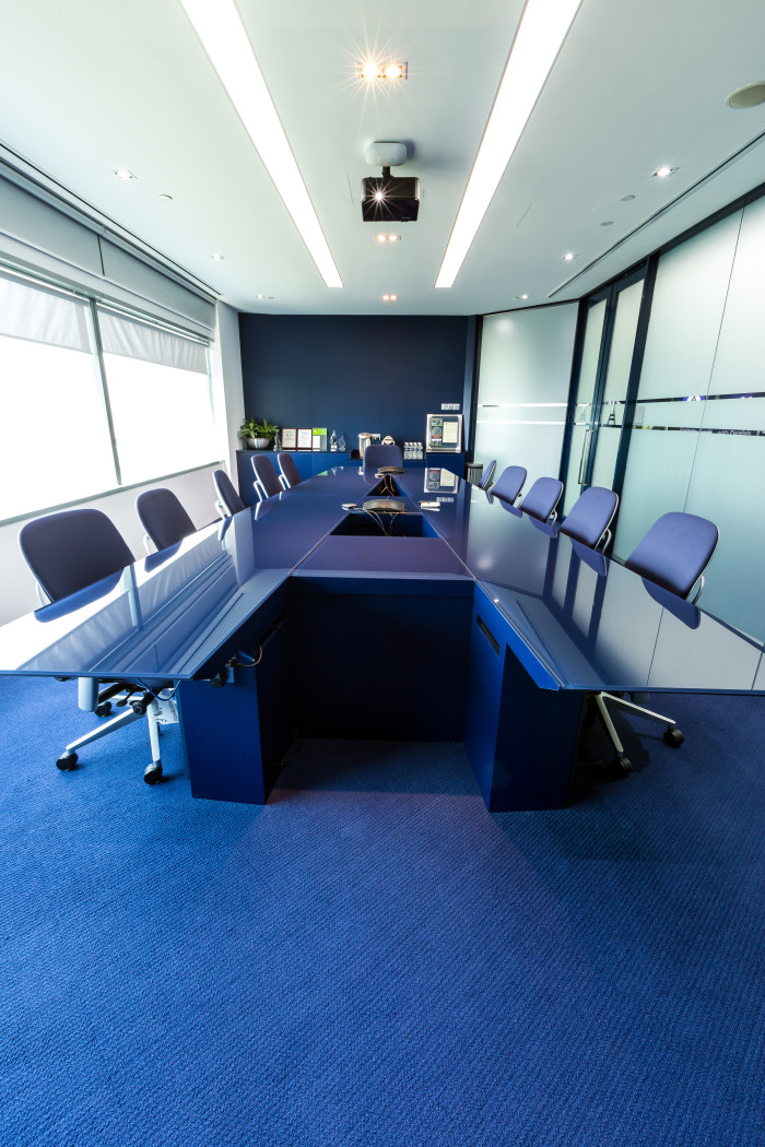 Acronis board room with A shaped table