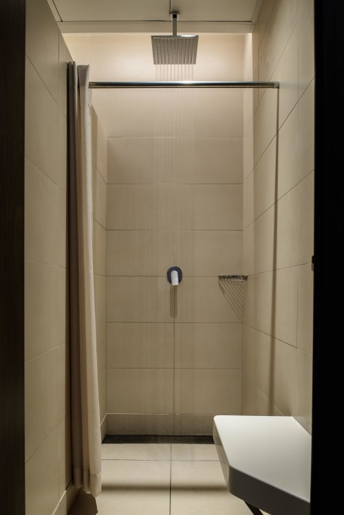 Hotel quality shower facilities in refurbished changing rooms.