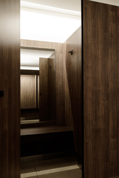Individualised changing cubicles in refurbished changing rooms.