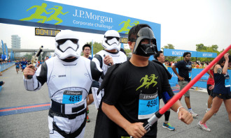 Celebrating May 4th a week early, Star Wars fans dressed up for the race.