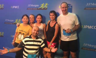 The Human Resources team poses after the race.