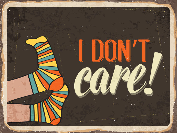"Retro metal sign "" I don't care"""