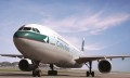 Cathay Pacific plane on runway, hr