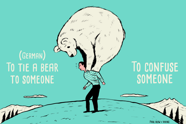 Idiom illustration - to tie a bear to someone, hr
