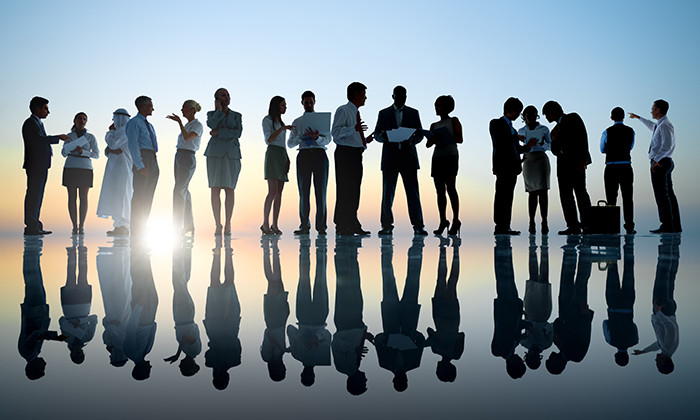 Group of business people talking, hr