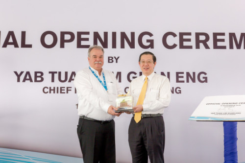 Alex Vogt, CEO of Optics Balzers, with Chief Minister of Penang, Lim Guan Eng.