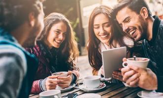 Millennials drinking coffee