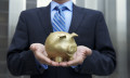 Business man holding savings, hr
