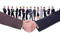 11188310 - handshakeof two businessmen  isolated on business background
