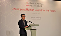 Mr Lim Swee Say, Minister for Manpower, delivering the keynote speech at the first Human Capital Partnership Networking Event.