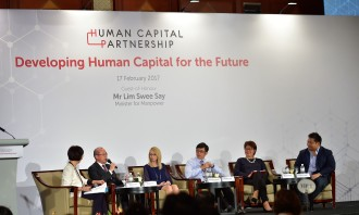 "Minister of State for Manpower, Mr Teo Ser Luck, and other business leaders sharing insights on ""Developing Human Capital for the Future"" at the first Human Capital Partnership Networking Event."