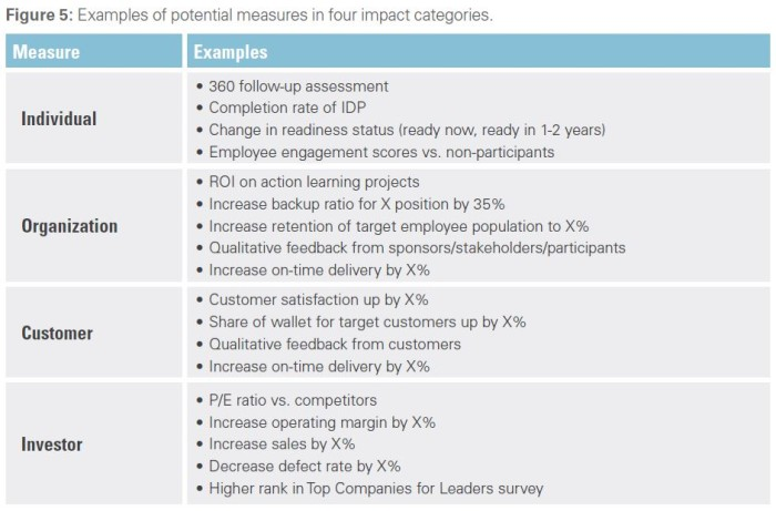 Examples of potential measures in four impact categories.