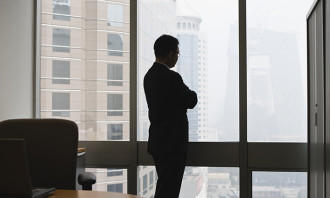Pensive manager in office, hr