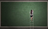 17382357 - businesswoman is climbing a ladder in front of a blackboard
