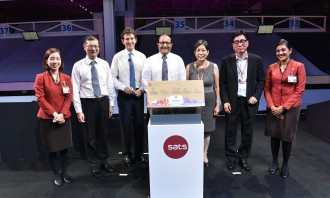 (L-R): Kevin Shum (director-general, CAAS), Alex Hungate (president and CEO, SATS), S Iswaran, Euleen Goh (chairman, SATS) and Sam Ang (executive vice president, SingPost) at the official opening of SATS eCommerce AirHub