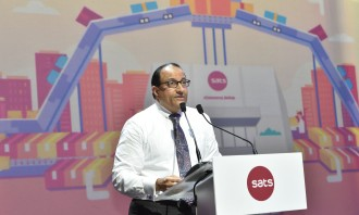 Minister for trade and industry (industry), S Iswaran delivering his speech at the official opening of SATS eCommerce AirHub