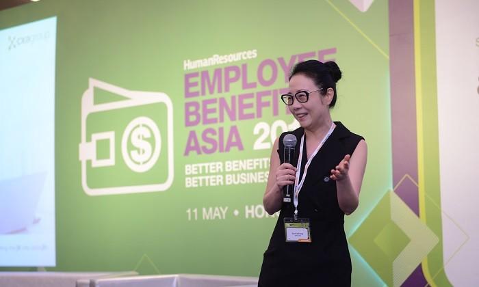 Cecilia Deasy on stage at EBA2017 HK, hr