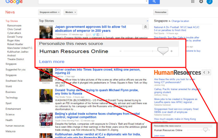 Google News Editors' Picks Personalise news source
