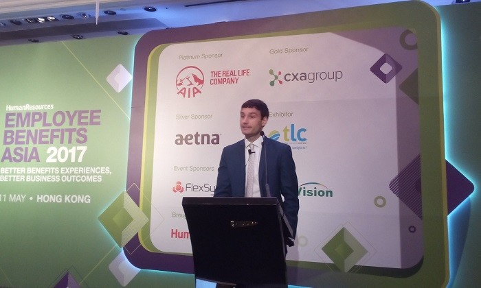 Julien Lauden on stage at EBA2017, Hong Kong