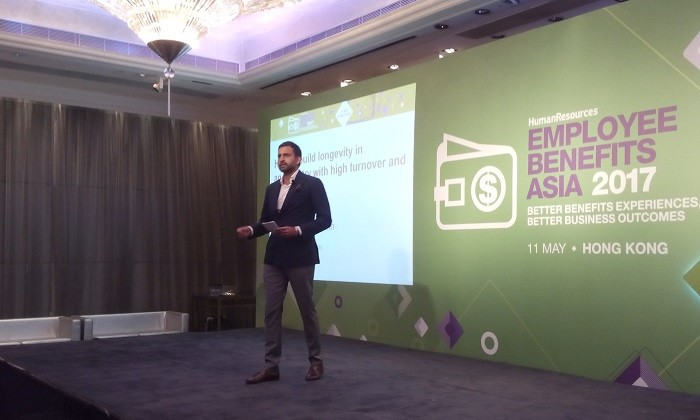 Syed Asim Hussain on stage at EBA2017 Hong Kong, hr