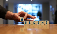 Welcome sign on desk, hr