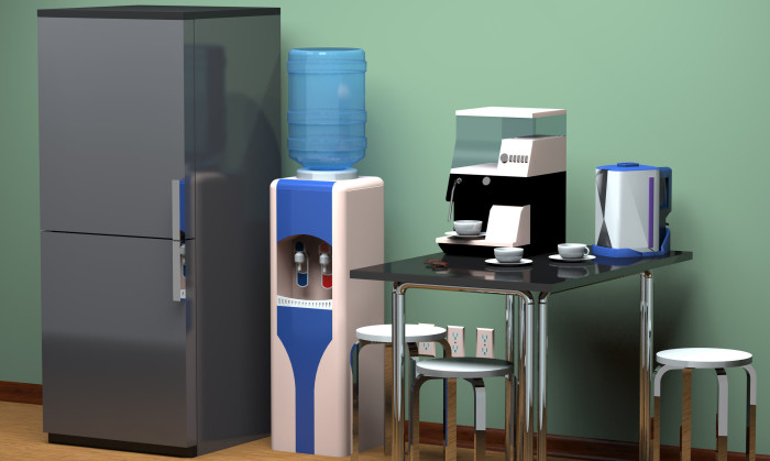 48899767 - refrigerator, kitchen table, drinking water cooler at the office.