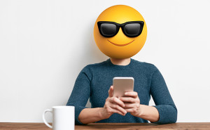 Employee with an emoji face, hr