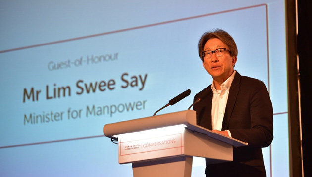 Lim Swee Say, Minister for Manpower, delivering a speech at the HCP Conversations event which took place this morning where more than 50 employers were recognised as HCPartners.