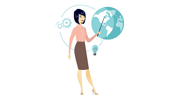 business woman pointing at globe - 123RF
